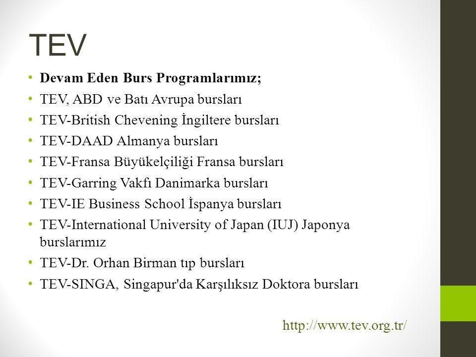 TEV • Devam Eden Burs Programlarımız; • TEV, ABD ve Batı Avrupa bursları • TEV-British Chevening İngiltere bursları • TEV-DAAD Almanya bursları • TEV-