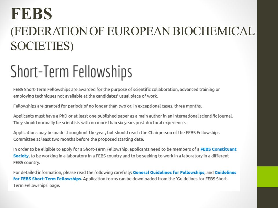 FEBS (FEDERATION OF EUROPEAN BIOCHEMICAL SOCIETIES)