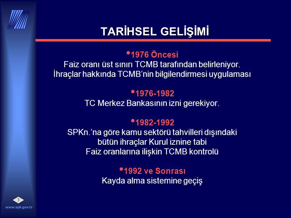 www.spk.gov.tr 3 • 1976 Öncesi Faiz oranı üst sınırı TCMB tarafından belirleniyor. İhraçlar hakkında TCMB'nin bilgilendirmesi uygulaması • 1976-1982 T
