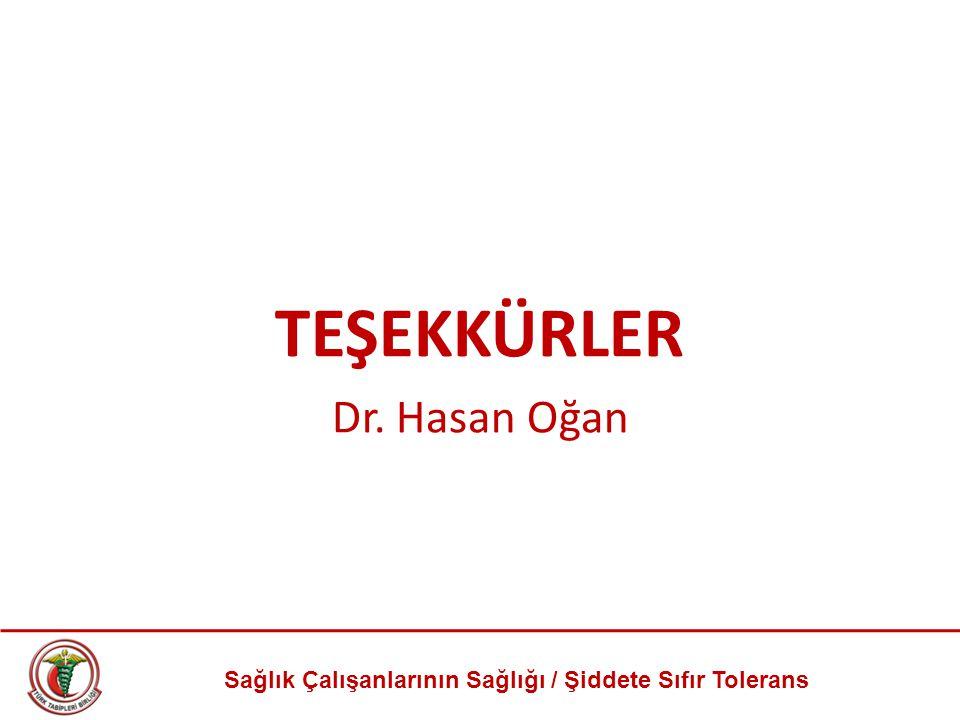 TEŞEKKÜRLER Dr. Hasan Oğan Sağlık Çalışanlarının Sağlığı / Şiddete Sıfır Tolerans