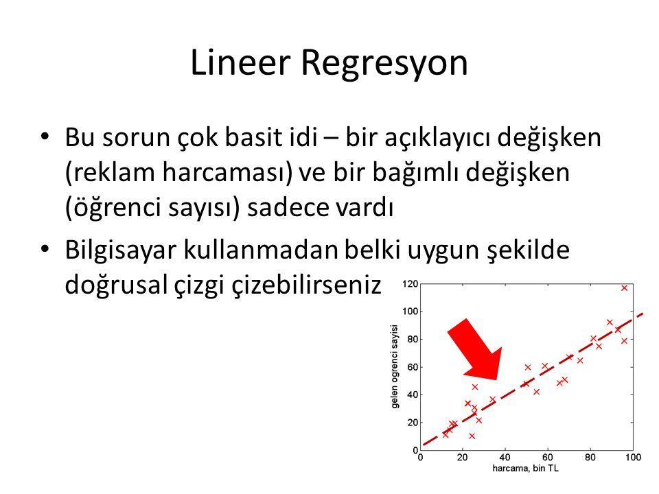 Lineer Regresyon • Bu sorun çok basit idi – bir açıklayıcı değişken (reklam harcaması) ve bir bağımlı değişken (öğrenci sayısı) sadece vardı • Bilgisayar kullanmadan belki uygun şekilde doğrusal çizgi çizebilirseniz