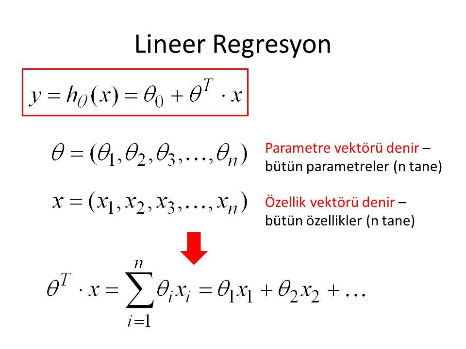 Lineer Regresyon Parametre vektörü denir – bütün parametreler (n tane) Özellik vektörü denir – bütün özellikler (n tane)