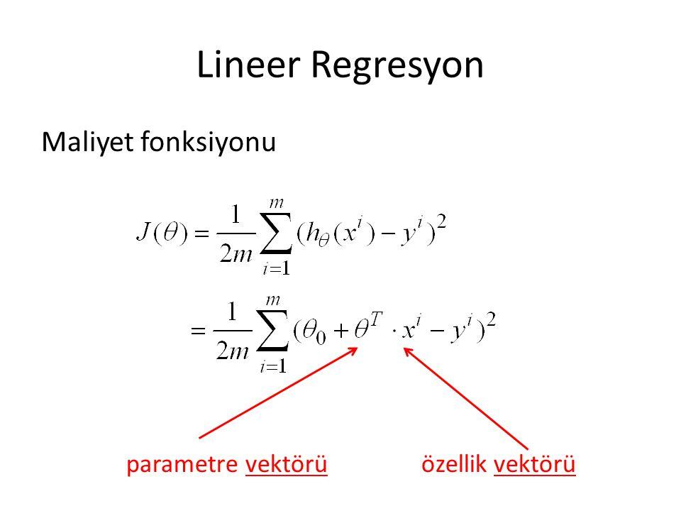 Lineer Regresyon Maliyet fonksiyonu parametre vektörüözellik vektörü