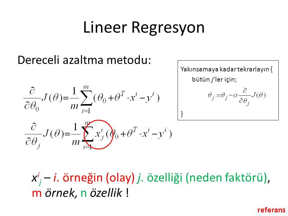 Lineer Regresyon Dereceli azaltma metodu: Yakınsamaya kadar tekrarlayın { bütün j'ler için; } x i j – i. örneğin (olay) j. özelliği (neden faktörü), m