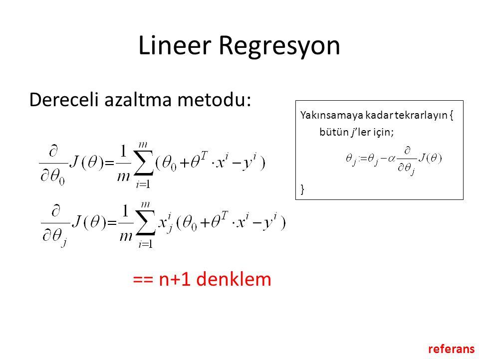 Lineer Regresyon Dereceli azaltma metodu: Yakınsamaya kadar tekrarlayın { bütün j'ler için; } == n+1 denklem referans