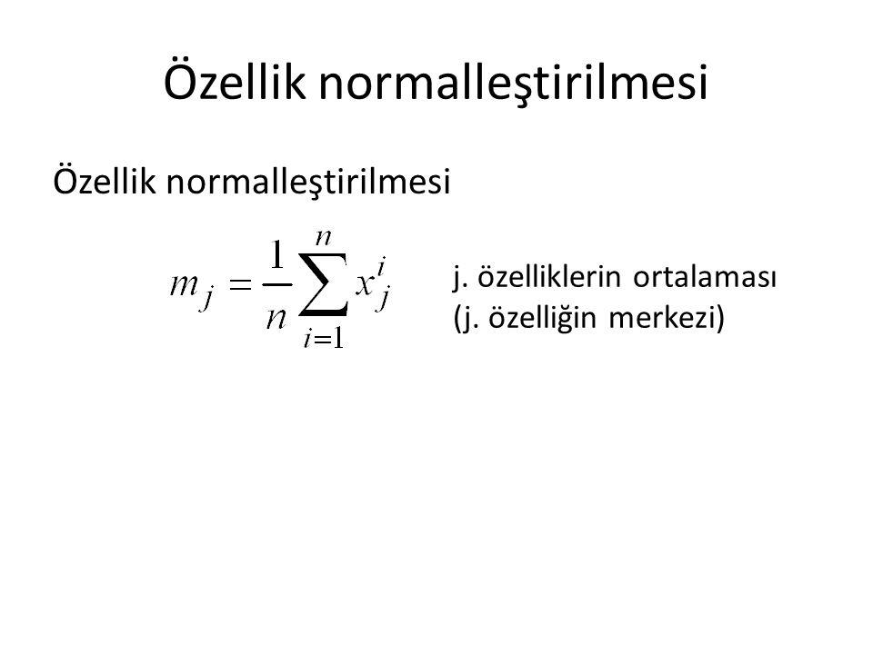 Özellik normalleştirilmesi j. özelliklerin ortalaması (j. özelliğin merkezi)