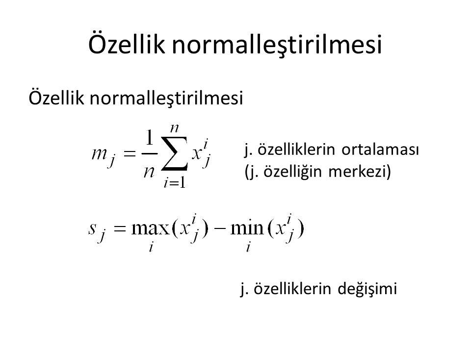 Özellik normalleştirilmesi j. özelliklerin değişimi j. özelliklerin ortalaması (j. özelliğin merkezi)