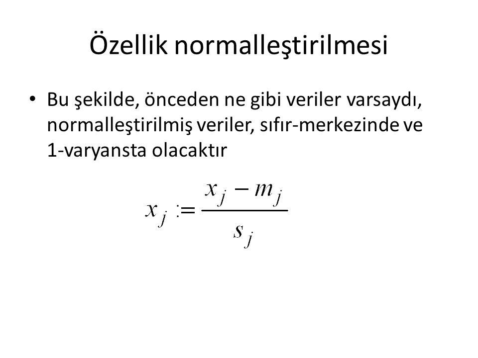 Özellik normalleştirilmesi • Bu şekilde, önceden ne gibi veriler varsaydı, normalleştirilmiş veriler, sıfır-merkezinde ve 1-varyansta olacaktır