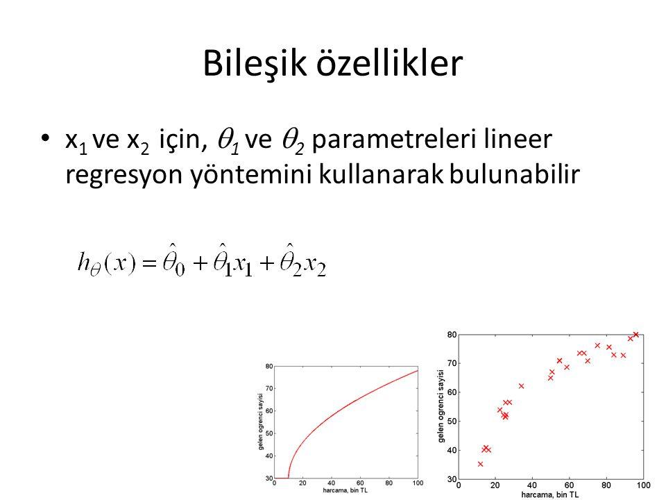 Bileşik özellikler • x 1 ve x 2 için,  1 ve  2 parametreleri lineer regresyon yöntemini kullanarak bulunabilir