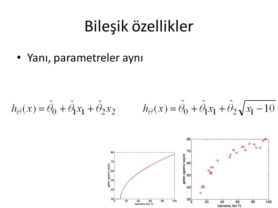 Bileşik özellikler • Yanı, parametreler aynı