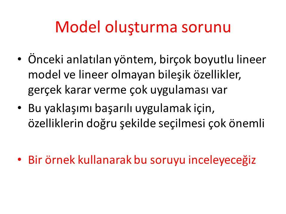 Model oluşturma sorunu • Önceki anlatılan yöntem, birçok boyutlu lineer model ve lineer olmayan bileşik özellikler, gerçek karar verme çok uygulaması