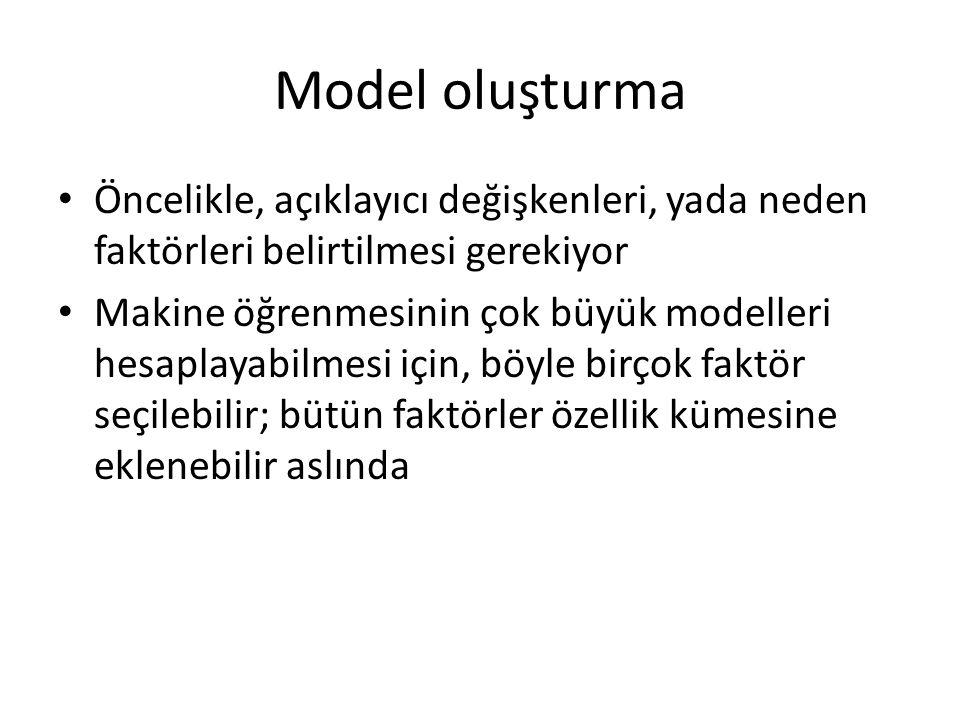 Model oluşturma • Öncelikle, açıklayıcı değişkenleri, yada neden faktörleri belirtilmesi gerekiyor • Makine öğrenmesinin çok büyük modelleri hesaplayabilmesi için, böyle birçok faktör seçilebilir; bütün faktörler özellik kümesine eklenebilir aslında