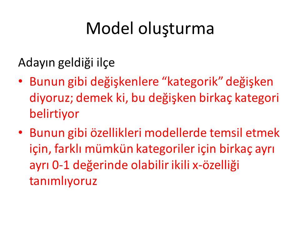 Model oluşturma Adayın geldiği ilçe • Bunun gibi değişkenlere kategorik değişken diyoruz; demek ki, bu değişken birkaç kategori belirtiyor • Bunun gibi özellikleri modellerde temsil etmek için, farklı mümkün kategoriler için birkaç ayrı ayrı 0-1 değerinde olabilir ikili x-özelliği tanımlıyoruz