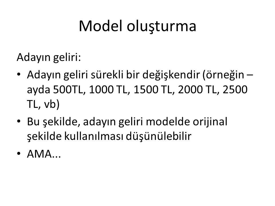 Model oluşturma Adayın geliri: • Adayın geliri sürekli bir değişkendir (örneğin – ayda 500TL, 1000 TL, 1500 TL, 2000 TL, 2500 TL, vb) • Bu şekilde, adayın geliri modelde orijinal şekilde kullanılması düşünülebilir • AMA...