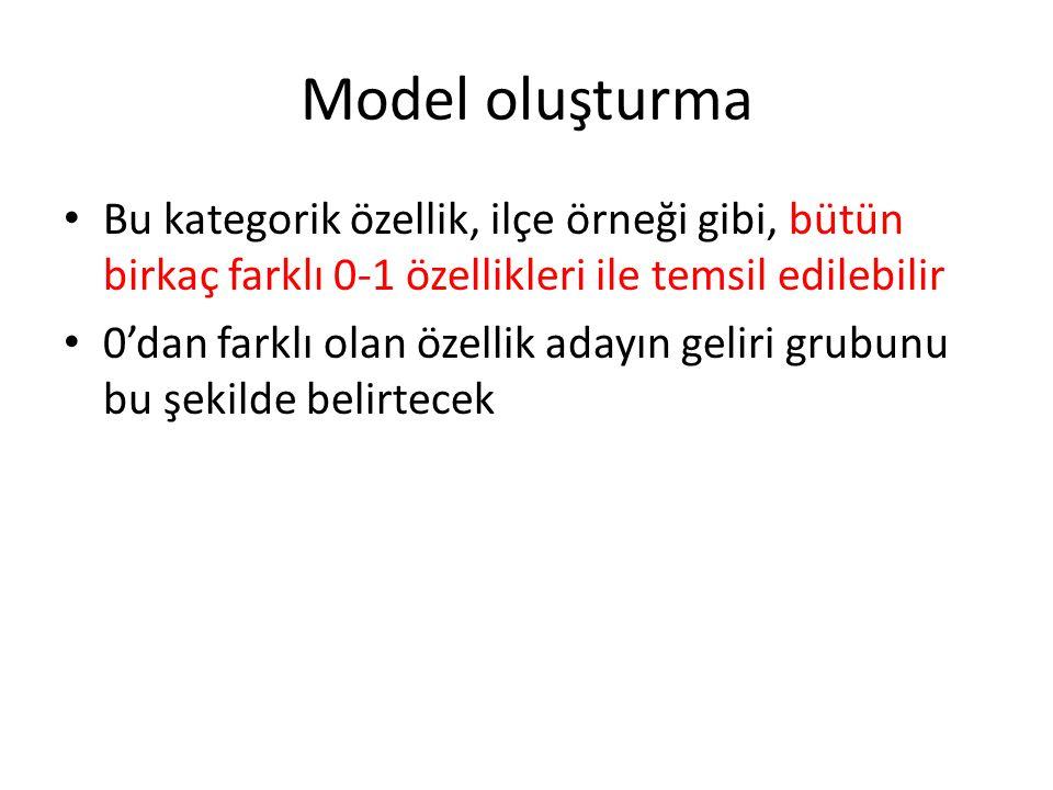 Model oluşturma • Bu kategorik özellik, ilçe örneği gibi, bütün birkaç farklı 0-1 özellikleri ile temsil edilebilir • 0'dan farklı olan özellik adayın geliri grubunu bu şekilde belirtecek