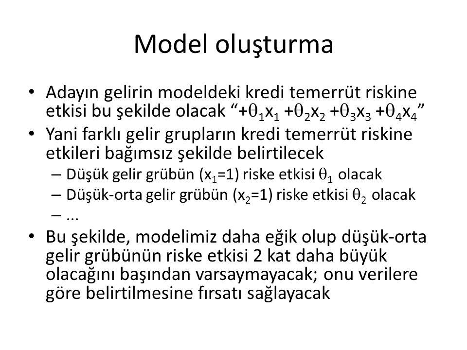 Model oluşturma • Adayın gelirin modeldeki kredi temerrüt riskine etkisi bu şekilde olacak +  1 x 1 +  2 x 2 +  3 x 3 +  4 x 4 • Yani farklı gelir grupların kredi temerrüt riskine etkileri bağımsız şekilde belirtilecek – Düşük gelir grübün (x 1 =1) riske etkisi  1 olacak – Düşük-orta gelir grübün (x 2 =1) riske etkisi  2 olacak –...