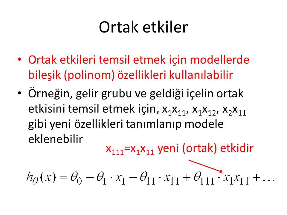 Ortak etkiler • Ortak etkileri temsil etmek için modellerde bileşik (polinom) özellikleri kullanılabilir • Örneğin, gelir grubu ve geldiği içelin ortak etkisini temsil etmek için, x 1 x 11, x 1 x 12, x 2 x 11 gibi yeni özellikleri tanımlanıp modele eklenebilir x 111 =x 1 x 11 yeni (ortak) etkidir