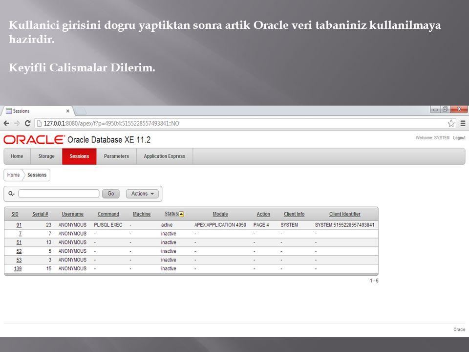Kullanici girisini dogru yaptiktan sonra artik Oracle veri tabaniniz kullanilmaya hazirdir. Keyifli Calismalar Dilerim.