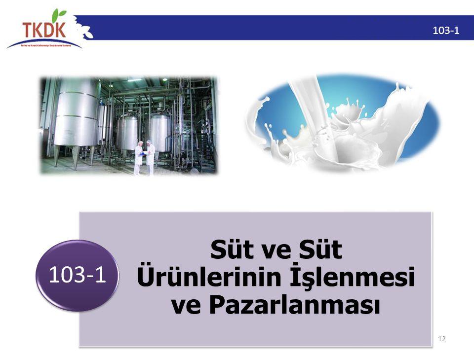 103-1 12 Süt ve Süt Ürünlerinin İşlenmesi ve Pazarlanması 103-1