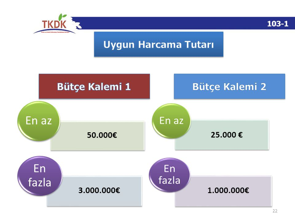 103-1 22 50.000€ 25.000 € En az 3.000.000€ 1.000.000€ En fazla