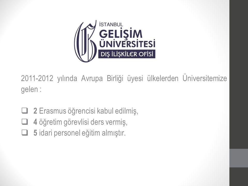 2011-2012 yılında Avrupa Birliği üyesi ülkelerden Üniversitemize gelen :  2 Erasmus öğrencisi kabul edilmiş,  4 öğretim görevlisi ders vermiş,  5 i