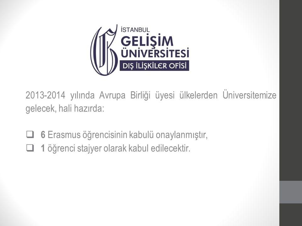 2013-2014 yılında Avrupa Birliği üyesi ülkelerden Üniversitemize gelecek, hali hazırda:  6 Erasmus öğrencisinin kabulü onaylanmıştır,  1 öğrenci sta