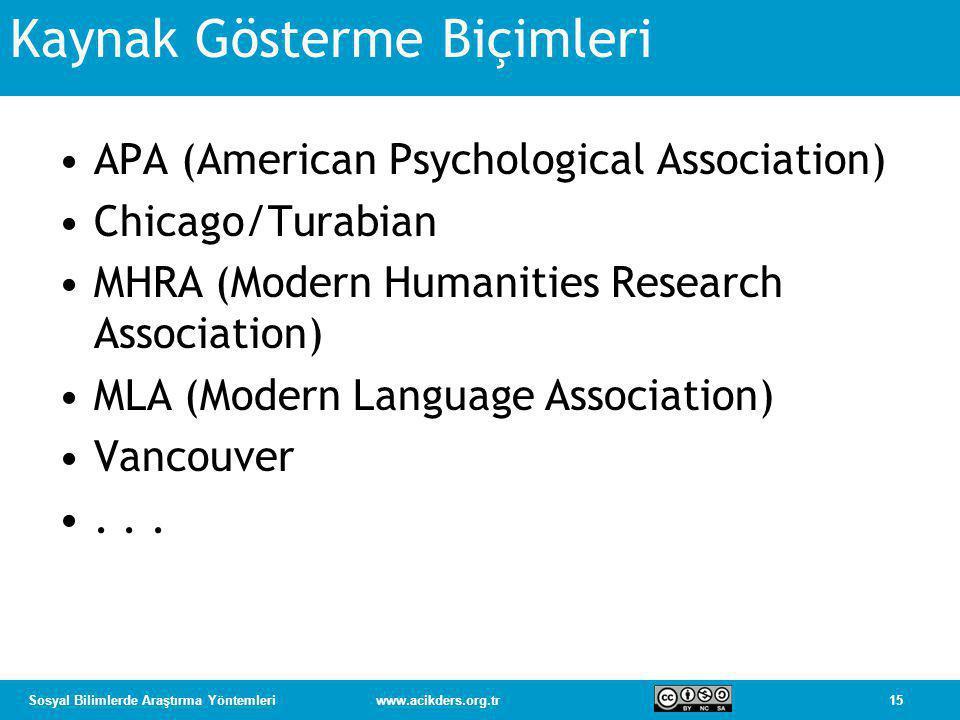 15Sosyal Bilimlerde Araştırma Yöntemleriwww.acikders.org.tr Kaynak Gösterme Biçimleri •APA (American Psychological Association) •Chicago/Turabian •MHRA (Modern Humanities Research Association) •MLA (Modern Language Association) •Vancouver •...