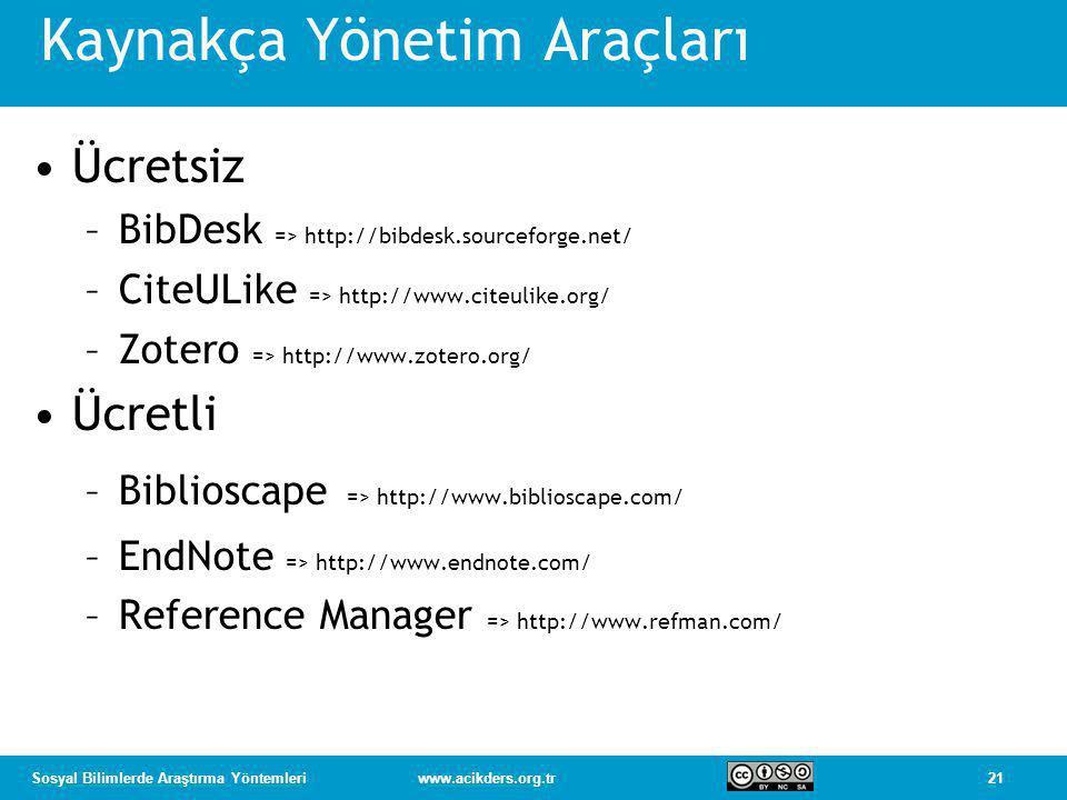 21Sosyal Bilimlerde Araştırma Yöntemleriwww.acikders.org.tr Kaynakça Yönetim Araçları •Ücretsiz –BibDesk => http://bibdesk.sourceforge.net/ –CiteULike => http://www.citeulike.org/ –Zotero => http://www.zotero.org/ •Ücretli –Biblioscape => http://www.biblioscape.com/ –EndNote => http://www.endnote.com/ –Reference Manager => http://www.refman.com/