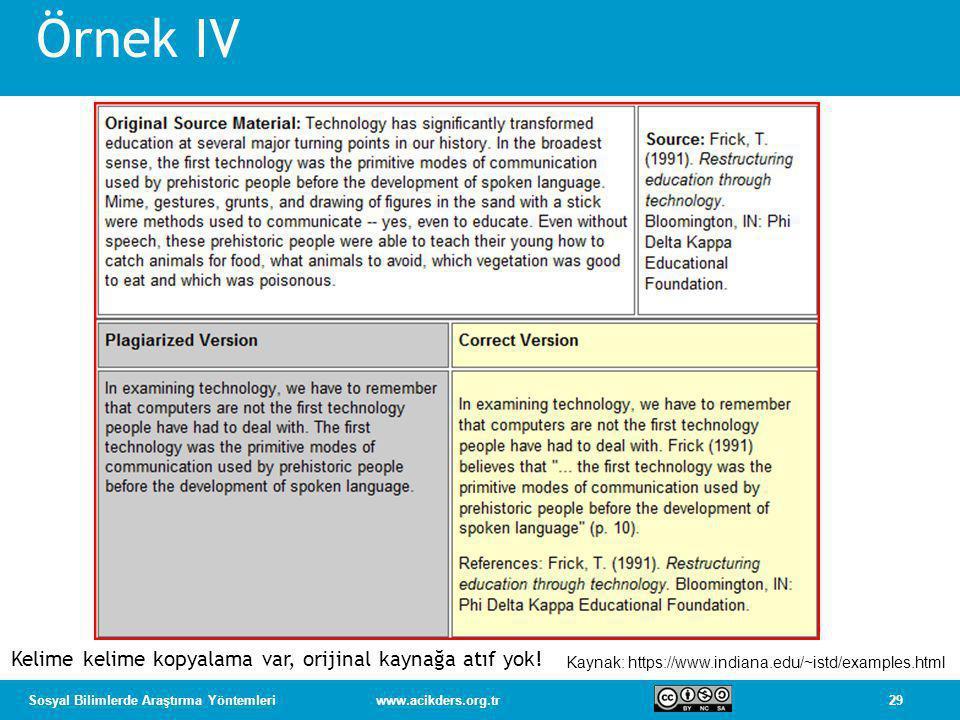 29Sosyal Bilimlerde Araştırma Yöntemleriwww.acikders.org.tr Örnek IV Kaynak: https://www.indiana.edu/~istd/examples.html Kelime kelime kopyalama var, orijinal kaynağa atıf yok!