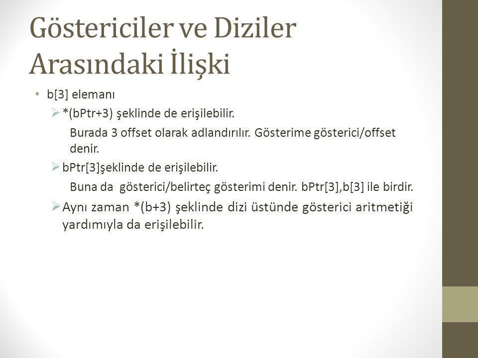#include int main() { int b[] = { 10, 20, 30, 40 }; int *bPtr = b; int i, offset; printf( d dizi asagidaki metdolarla yazilmistir:\n Dizi belirtecleri yontemi\n ); for ( i = 0; i < 4; i++ ) printf( b[ %d ] = %d\n , i, b[ i ] ); printf( \nGosterici/offset yonetmi,\n gosterici dizinin ismiyken\n ); for ( offset = 0; offset < 4; offset++ ) printf( *( b + %d ) = %d\n , offset, *( b + offset ) ); printf( \nGosterici belirtec yontemi\n ); for ( i = 0; i < 4; i++ ) printf( bPtr[ %d ] = %d\n , i, bPtr[ i ] ); printf( \nGosterici/offset yontemi\n ); for ( offset = 0; offset < 4; offset++ ) printf( *( bPtr + %d ) = %d\n , offset, *( bPtr + offset ) ); getch(); return 0; }