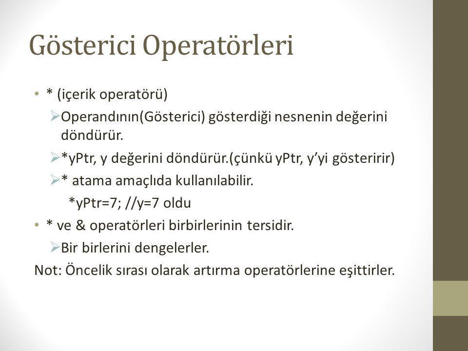 #include int main() { int a; int *aPtr; a=7; aPtr=&a; printf( aPtr nin adresi %x ,&aPtr); printf( \na nin adresi %x \naPtr nin degeri %x ,&a,aPtr); printf( \na nin degeri %d \n*aPtr nin degeri %d ,a,*aPtr); printf( \n* ve & birbirlerine tersidir. \n*&aPtr %x\n&*aPtr %x ,*&aPtr,&*aPtr); getch(); return 0; }