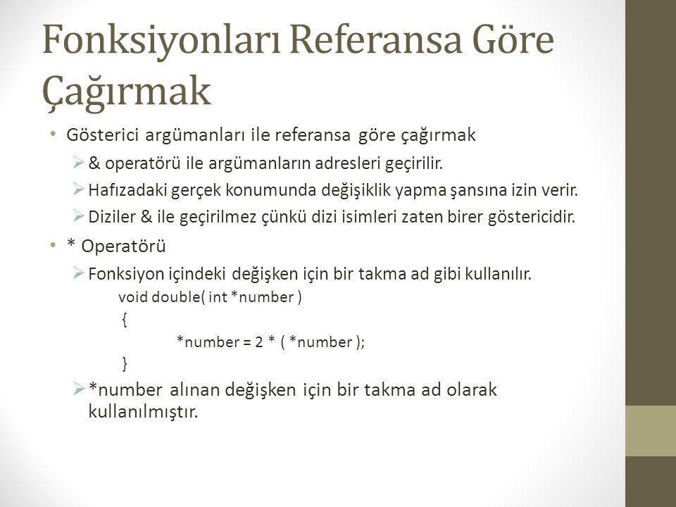#include int Kup(int); int main() { int sayi=5; printf( Sayinin esas degeri: %d ,sayi); sayi=Kup(sayi); printf( \nSayinin yeni degeri: %d ,sayi); getch(); return 0; } int Kup(int a) { return a*a*a; } #include void Kup(int *); int main() { int sayi=5; printf( Sayinin esas degeri: %d ,sayi); Kup(&sayi); printf( \nSayinin yeni degeri: %d ,sayi); getch(); return 0; } void Kup(int *aPtr) { *aPtr=(*aPtr)*(*aPtr)*(*aPtr); }
