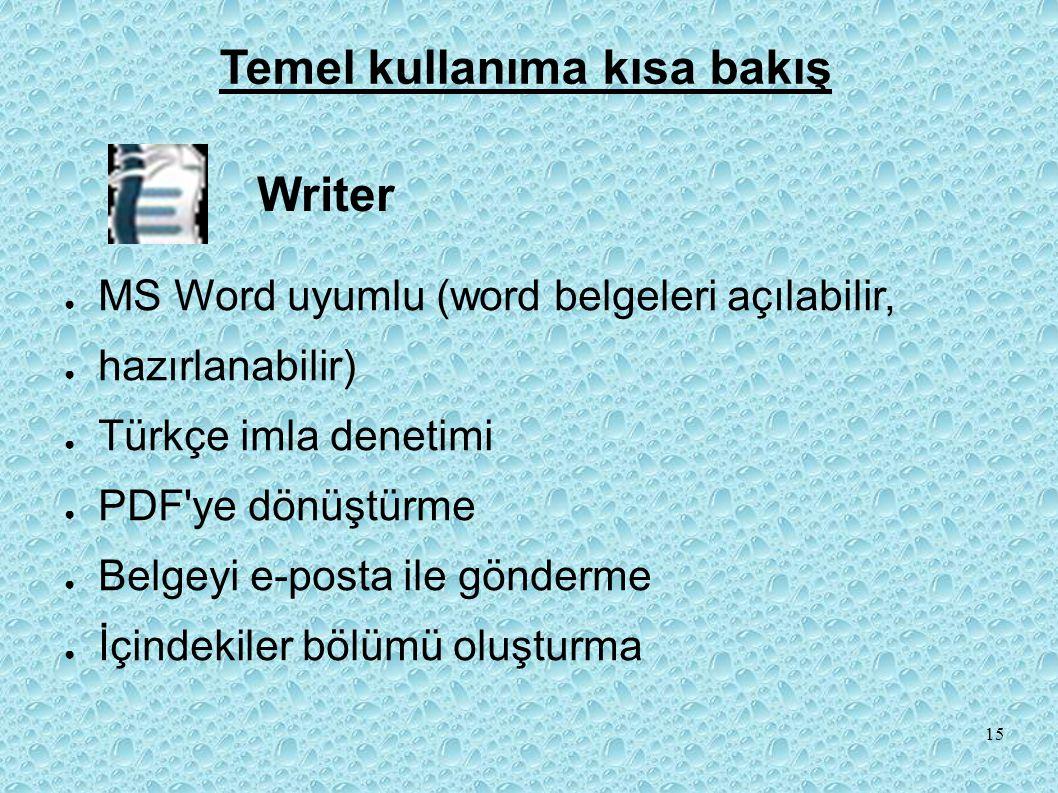● MS Word uyumlu (word belgeleri açılabilir, ● hazırlanabilir) ● Türkçe imla denetimi ● PDF ye dönüştürme ● Belgeyi e-posta ile gönderme ● İçindekiler bölümü oluşturma Writer Temel kullanıma kısa bakış 15