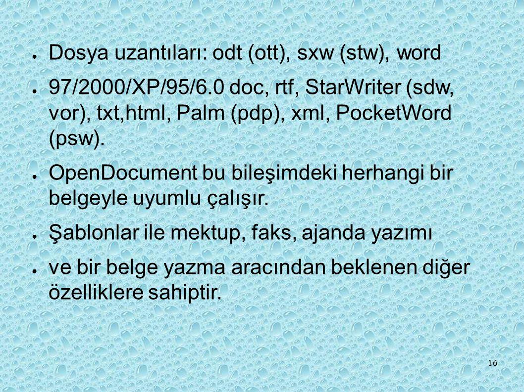 ● Dosya uzantıları: odt (ott), sxw (stw), word ● 97/2000/XP/95/6.0 doc, rtf, StarWriter (sdw, vor), txt,html, Palm (pdp), xml, PocketWord (psw).