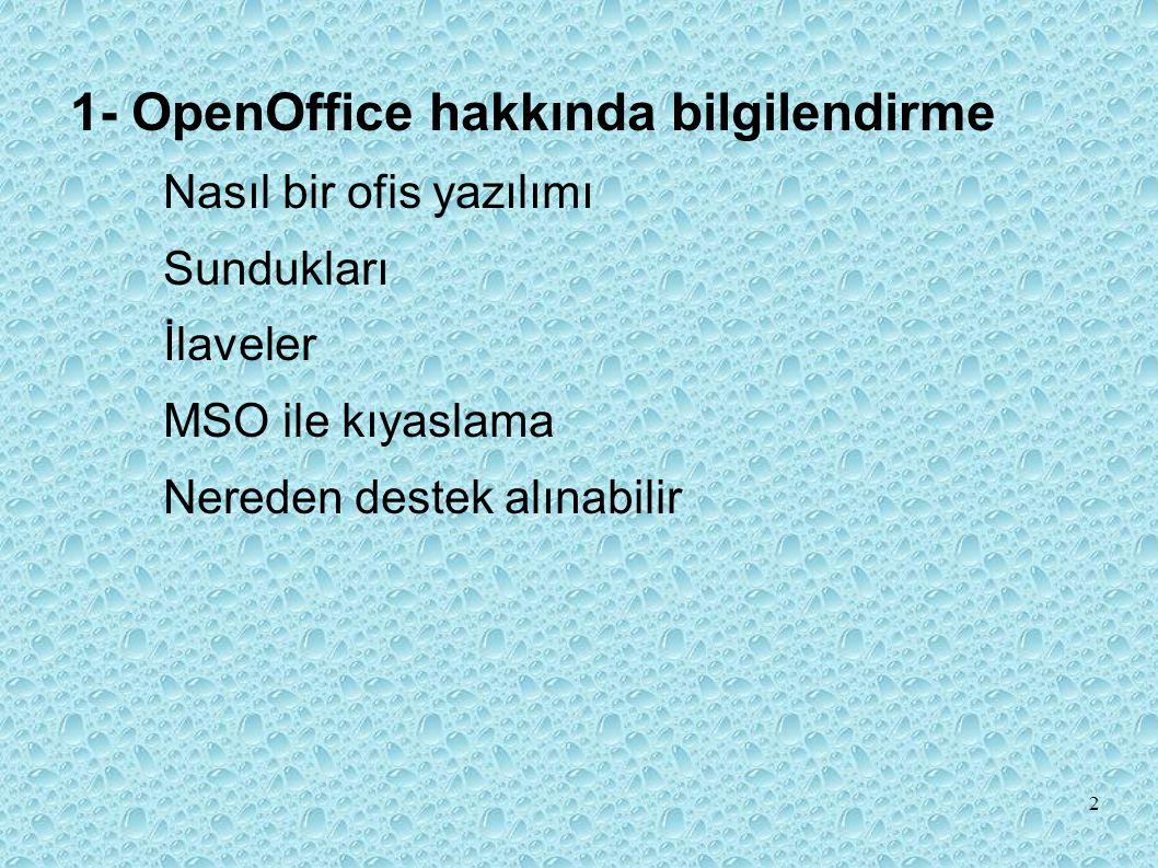 1- OpenOffice hakkında bilgilendirme Nasıl bir ofis yazılımı Sundukları İlaveler MSO ile kıyaslama Nereden destek alınabilir 2