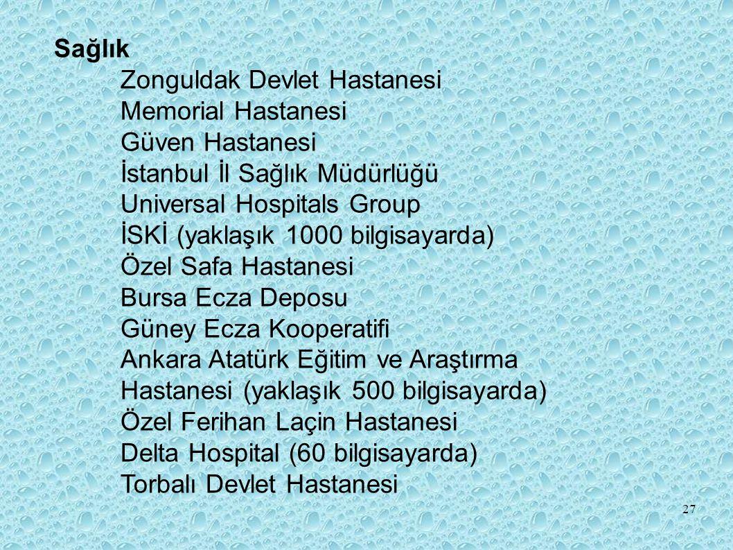 Sağlık Zonguldak Devlet Hastanesi Memorial Hastanesi Güven Hastanesi İstanbul İl Sağlık Müdürlüğü Universal Hospitals Group İSKİ (yaklaşık 1000 bilgisayarda) Özel Safa Hastanesi Bursa Ecza Deposu Güney Ecza Kooperatifi Ankara Atatürk Eğitim ve Araştırma Hastanesi (yaklaşık 500 bilgisayarda) Özel Ferihan Laçin Hastanesi Delta Hospital (60 bilgisayarda) Torbalı Devlet Hastanesi 27