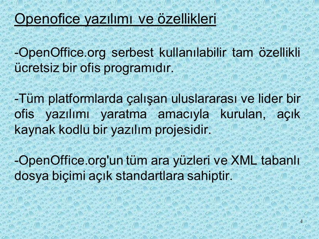 Openofice yazılımı ve özellikleri -OpenOffice.org serbest kullanılabilir tam özellikli ücretsiz bir ofis programıdır.