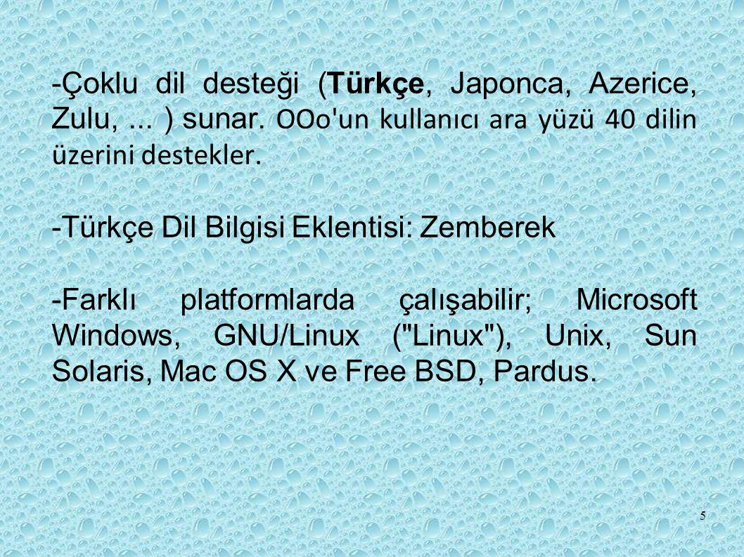 -Çoklu dil desteği (Türkçe, Japonca, Azerice, Zulu,...