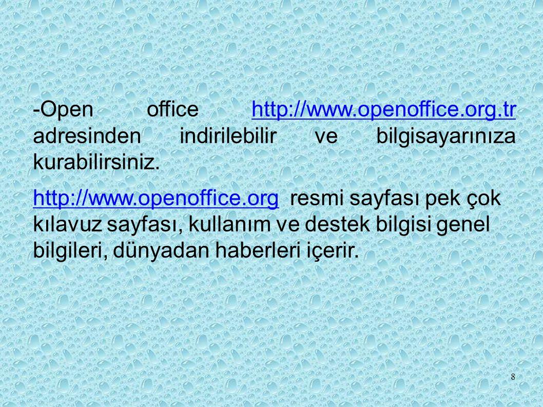 -Open office http://www.openoffice.org.tr adresinden indirilebilir ve bilgisayarınıza kurabilirsiniz.http://www.openoffice.org.tr http://www.openoffice.orghttp://www.openoffice.org resmi sayfası pek çok kılavuz sayfası, kullanım ve destek bilgisi genel bilgileri, dünyadan haberleri içerir.