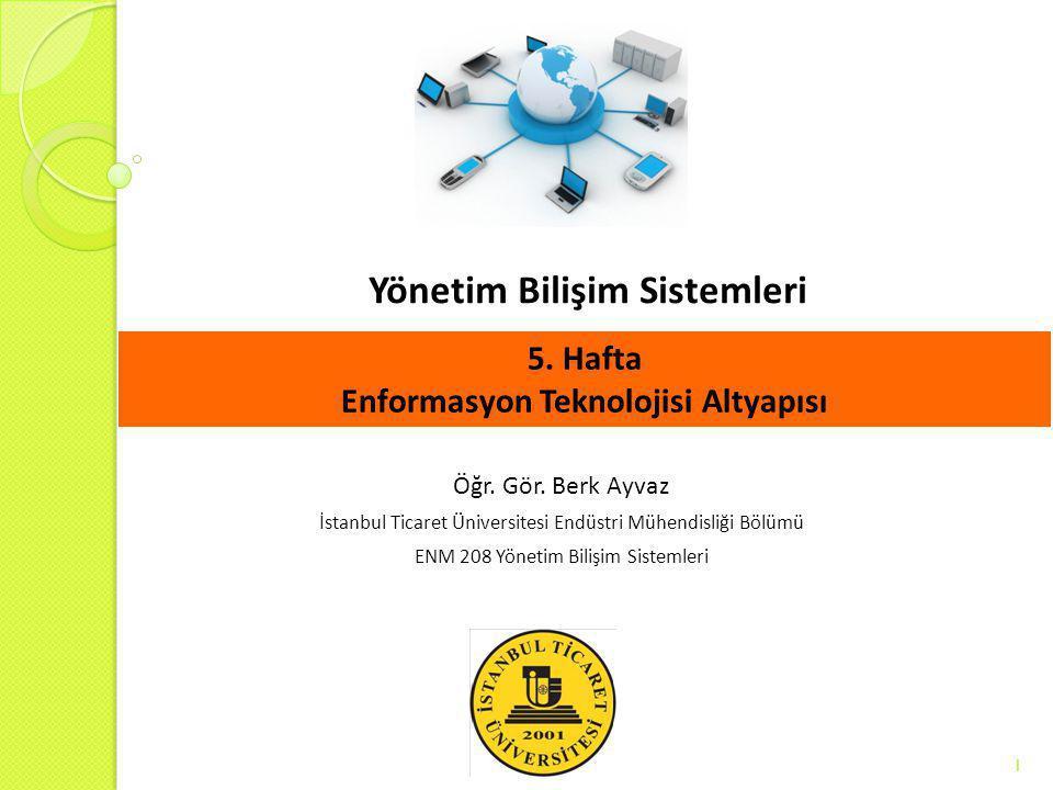 Yönetim Bilişim Sistemleri 1 Öğr. Gör. Berk Ayvaz İstanbul Ticaret Üniversitesi Endüstri Mühendisliği Bölümü ENM 208 Yönetim Bilişim Sistemleri 5. Haf