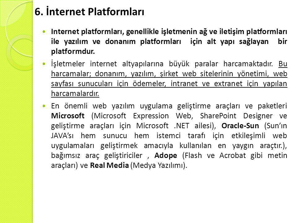 6. İnternet Platformları  Internet platformları, genellikle işletmenin ağ ve iletişim platformları ile yazılım ve donanım platformları için alt yapı