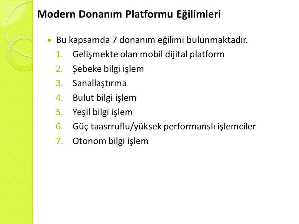 Modern Donanım Platformu Eğilimleri  Bu kapsamda 7 donanım eğilimi bulunmaktadır. 1.Gelişmekte olan mobil dijital platform 2.Şebeke bilgi işlem 3.San