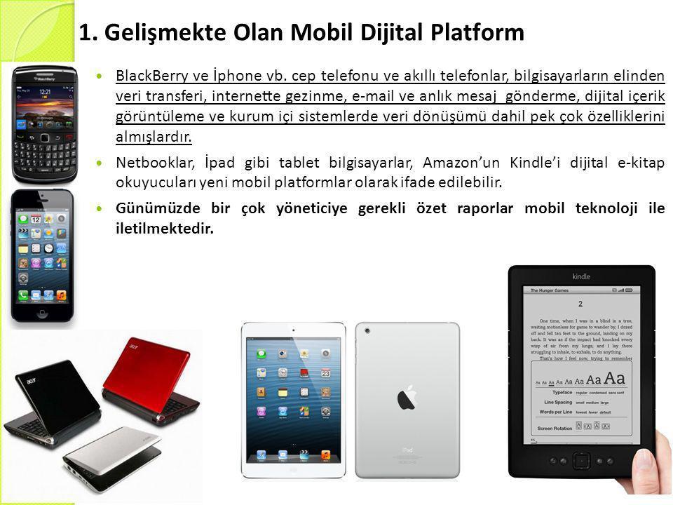 1. Gelişmekte Olan Mobil Dijital Platform  BlackBerry ve İphone vb. cep telefonu ve akıllı telefonlar, bilgisayarların elinden veri transferi, intern