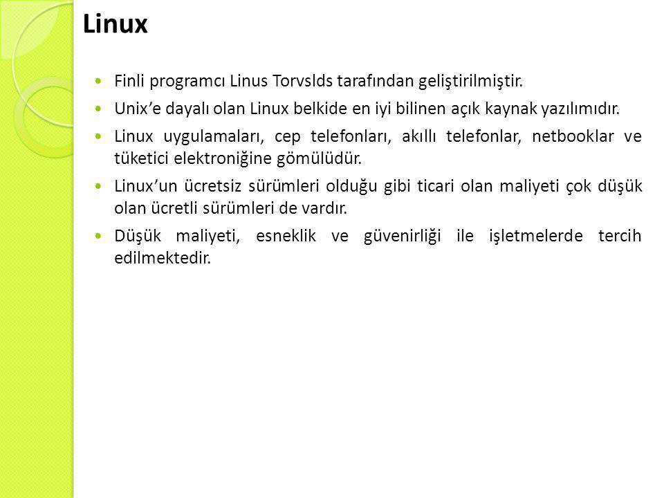 Linux  Finli programcı Linus Torvslds tarafından geliştirilmiştir.  Unix'e dayalı olan Linux belkide en iyi bilinen açık kaynak yazılımıdır.  Linux
