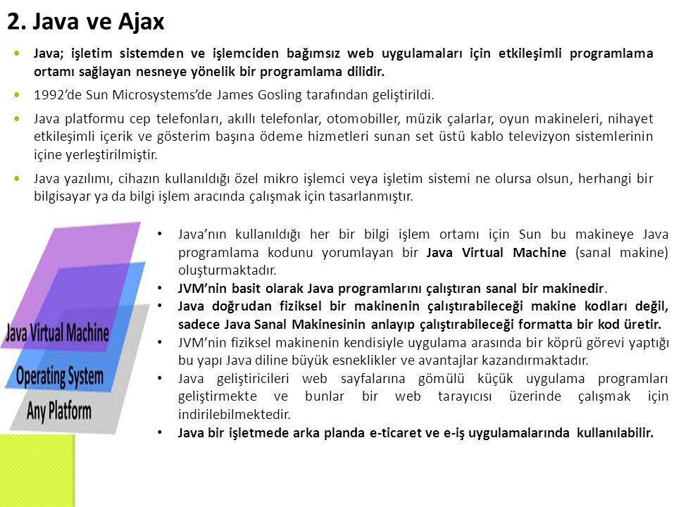 2. Java ve Ajax  Java; işletim sistemden ve işlemciden bağımsız web uygulamaları için etkileşimli programlama ortamı sağlayan nesneye yönelik bir pro