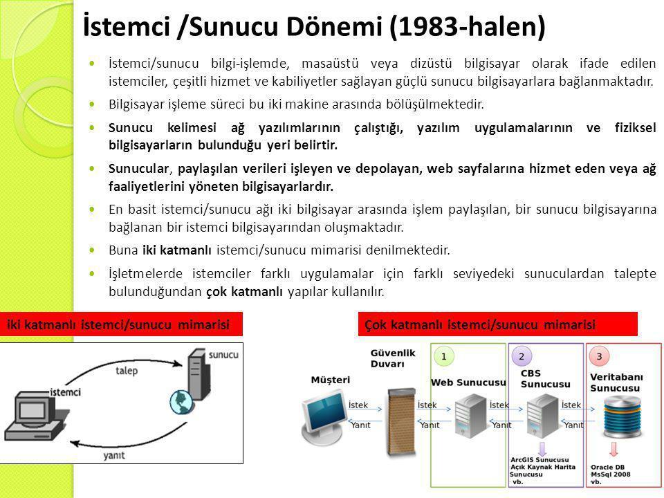 İstemci /Sunucu Dönemi (1983-halen)  İstemci/sunucu bilgi-işlemde, masaüstü veya dizüstü bilgisayar olarak ifade edilen istemciler, çeşitli hizmet ve kabiliyetler sağlayan güçlü sunucu bilgisayarlara bağlanmaktadır.