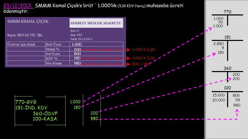 20/12/2013: SMMM Kemal Çiçek'e brüt ¨ 1.000'lık (%18 KDV Hariç) muhasebe ücreti ödenmiştir. 1.000 200 800 180 980 1.000 X 0,20 1.000 X 0,18 770-GYG 36