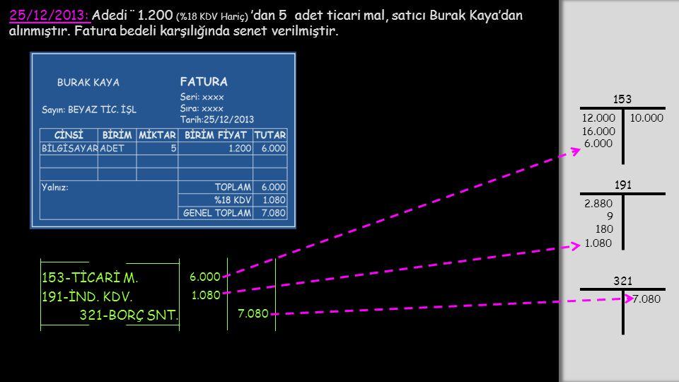 25/12/2013: Adedi ¨ 1.200 (%18 KDV Hariç) 'dan 5 adet ticari mal, satıcı Burak Kaya'dan alınmıştır.