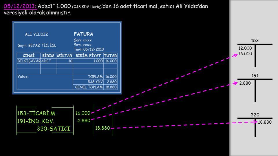 05/12/2013: Adedi ¨ 1.000 (%18 KDV Hariç) 'dan 16 adet ticari mal, satıcı Ali Yıldız'dan veresiyeli olarak alınmıştır. 153-TİCARİ M. 320-SATICI 16.000