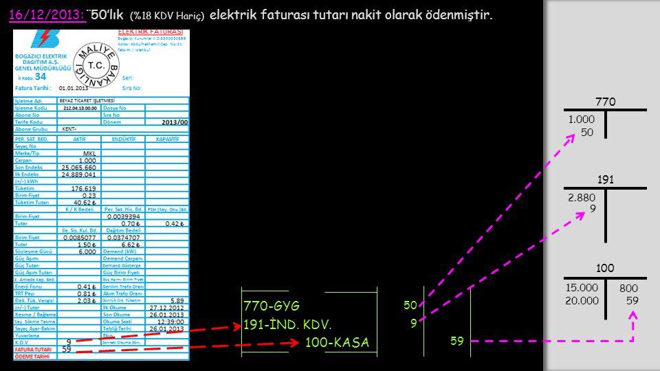 16/12/2013: ¨ 50'lık (%18 KDV Hariç) elektrik faturası tutarı nakit olarak ödenmiştir. 770-GYG 100-KASA 50 191-İND. KDV. 9 59 770 1.000 100 15.000 20.